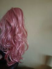 LADIES WOMANS PINK WIG LONG CURLEY WAVY HAIR LENGTH 22 INCHES