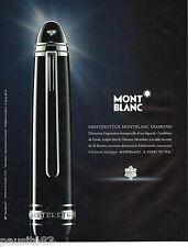 PUBLICITE ADVERTISING 065  2010  MONT BLANC  stylos MEISTERSTUCK DIAMOND
