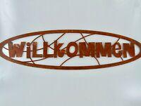 """Dekofigur Schriftzug /""""Willkommen/"""" im Rost Design als Anhänger Rostfigur für den"""