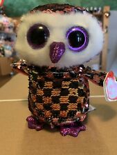 "Ty FLIPPABLES: CHECKS -Shiny Pink/Black/Silver Sequined Owl 6"" Beanie Boo *RARE*"