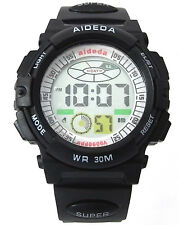 School Boy Sports Digital Watch Alarm DateDay Watchlight Stopwatch Plastic Black