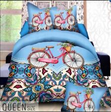 Celebrity Collection Queen Size 3D Bedding Set of 3 -Blue Bicycle Design