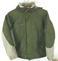 Columbia Mens Size L Large Crossterra Ski Jacket w Hood Fleece Lined Green r1