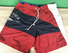 New listing Nautica Swim Trunks Mens L Blue & Red  Drawstring Tie Logo Lined Swimwear