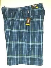 NWT Kirkland Signature Men's Goft Short Moisture Wicking Stretch Black Plaid 32W