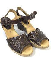 Pikolinos Brown Leather Cutout Platform Wedge Slingback Sandals, Sz 35
