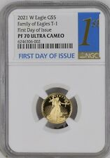 2021 W GOLD 1/10 OZ $5 AMERICAN EAGLE NGC PF70 CAMEO FIRST DAY OF ISSUE FDOI BLU