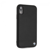 BMW Perforated Leather Hard Case for iPhone XR Black Drop Protection