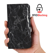 RFID Protected Black Marble PU Leather Wallet Custom Case Cover for Apple iPhone