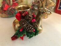 HOME FOR THE HOLIDAYS BRASS DEER CANDLEHOLDERS LOT OF 3