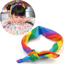 Unisex Gay LGBT Rainbow Striped Bandana Headband Scarf Hair Wrap Band Headwear