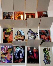 Mint set of 12 Vintage 1998 Prism Wrestling stickers in vending sleeves, NWO WCW