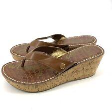Sam Edelman Sandals Sz 9.5 M Romy Cork Wedge Flip Flops Cork
