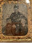 Authentic Civil War Tintype 3 Union Soldiers W Caps Unusual Cased