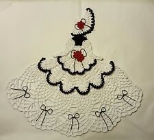 Crochet Crinoline Lady Doily - Ms Mum - Black and White