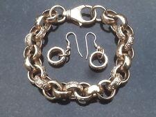 Heavy Antique / Vintage 9ct Yellow Gold Fancy Link Bracelet & Earrings