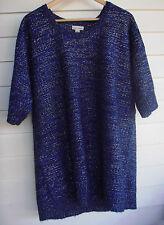 Autograph Women's Blue Black & Silver Knit Jumper - Size L