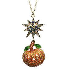 Kirks Folly Starry Night Pumpkin Necklace Halloween Antique Gold finish