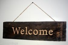 Welcome Sign Solid Maple Barn Wood Rustic Country Primitive Log cabin home decor