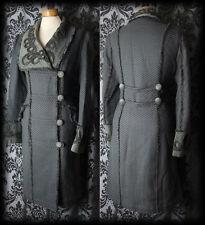Gothic Dramatic Grey Detail HUNTRESS Velvet Collar Coat 12 14 Vintage Victorian
