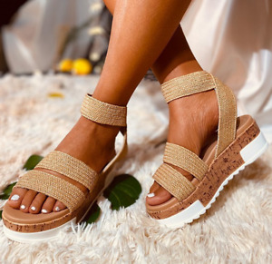 Plus Size Womens Roman Wedge Sandals Summer Platform Open Toe Strappy Lady Shoes