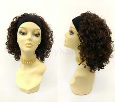 "Short Curly Dark Brown Headband Wig Heat Resistant 13"""