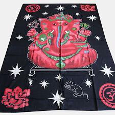 Couvre-lit tissu déco Ganesh Tapisserie Décoration murale Inde Rouge Noir