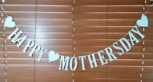 Happy Mothers day Banner/Bunting *SPARKLY SILVER* Handmade *2.5m Long*