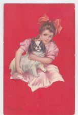 Art Deco Artist Signed Columbo #8 Little Girl With Pekingese Dog