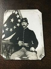civil war Military soldier With Pistol & Flag tintype C651RP