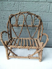 Twig Bench Doll Bear Furniture! Twisted Branches! Hearts Back!