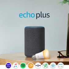 Echo Plus 2nd Gen w Philips Hue Bulb - Alexa smart home starter kit - Charcoal
