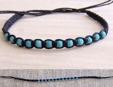 BRACELET BLACK COTTON CORD HEMP TURQUOISE BEADS WRISTBAND SURF BOHO mens womens