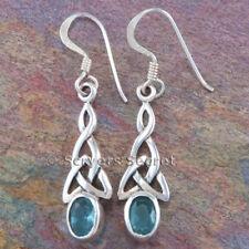 925 Sterling Silver CELTIC IRISH TRINITY Knot work cz topaz Earrings Hook Dangle