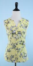 JOIE $258 Lemon Yellow Silver Gray Sleeveless Button Up 100% Silk Tunic Top M