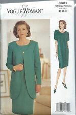 Vogue 8661 VOGUE WOMAN Sewing Pattern CLASSIC BUSINESS DRESS & JACKET 20-22-24