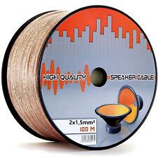 100m 2 x 1,5 mm² LAUTSPRECHERKABEL BOXENKABEL 2x1,5mm Hi-Fi AUDIO BOX KABEL