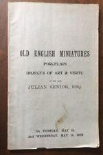 1906 - Auction. Old English Miniatures. Julian Senior.