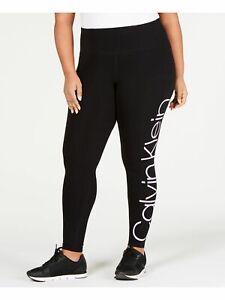 CALVIN KLEIN Womens Black Printed High Waist Active Wear Leggings Plus Size: 1X