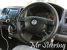 BLACK REAL LEATHER STEERING WHEEL COVER GREY STITCH FOR VW TRANSPORTER T5 03-09
