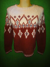 Womens J. Crew Handknit Chunky Wool Sweater Size M Crew Neck NORDIC FISHERMANS