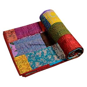 Handmade Bohemian Silk Multi- Patchwork Kantha Throw Quilts King Size Bed cover