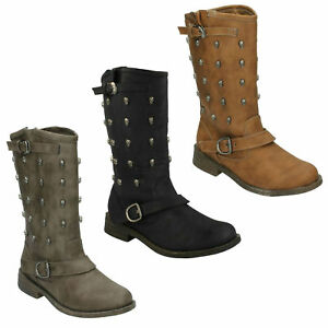 SALE LADIES SPOT ON SKULL STUDDED BIKER STYLE BUCKLE ZIP MID CALF BOOTS F50037