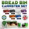 4Pc Bread Bin Tea Coffee Sugar Canister Food Storage Biscuit Jar Tin Kitchen Set