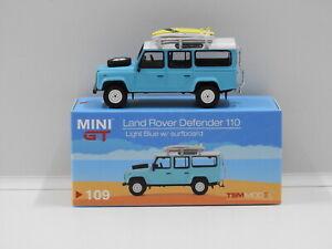 1:64 Land Rover Defender 110 with Surfboard RHD (Light Blue) True Scale Miniatur