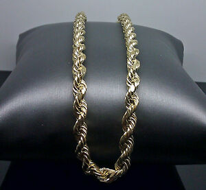 "Real 10k Men Yellow Gold Rope Chain Necklace 6mm 30"" Inch"