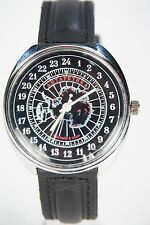 Mechanical watch RAKETA ANTARCTICA 24-HOUR. New. Black & Red dial. 39mm case