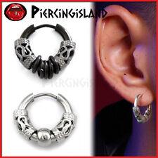 PUNK CELTIC FILIGREE BLACK SILVER RINGS Mens Womens Ear Piercing Hoop Earrings