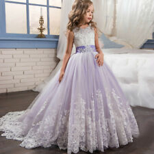 Girl Princess Bridesmaid Pageant Floral Tutu Tulle Gown Party Wedding Dress