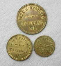 CHRISNEY IND INDIANA ~ JOHN B. CHRISNEY ~ UNLISTED PRE 1908 ~ 3 TOKEN 25 10 & 5